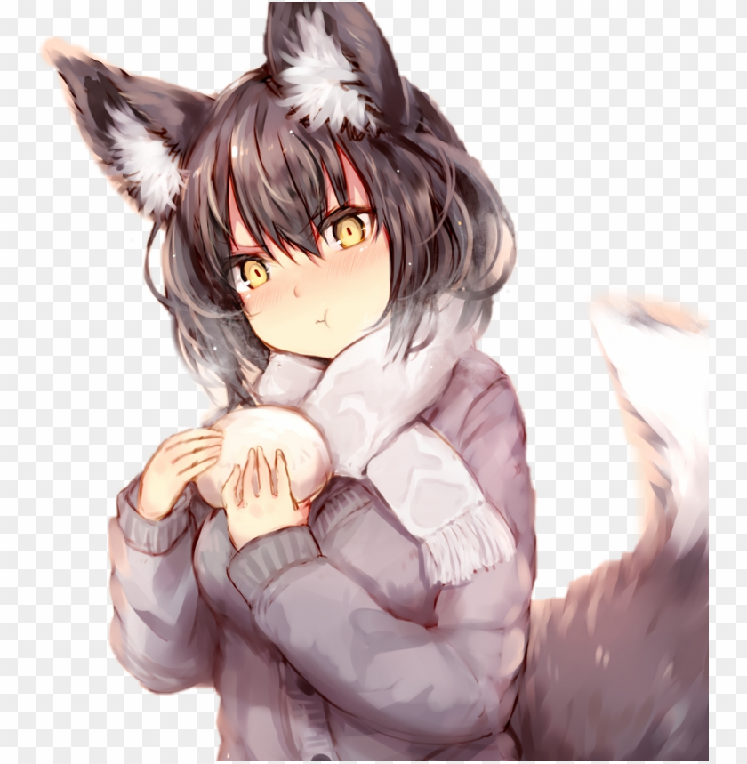 free PNG animewolfgirl wolf girl kelly girls grey gray anime - gray wolf anime wolf girl PNG image with transparent background PNG images transparent
