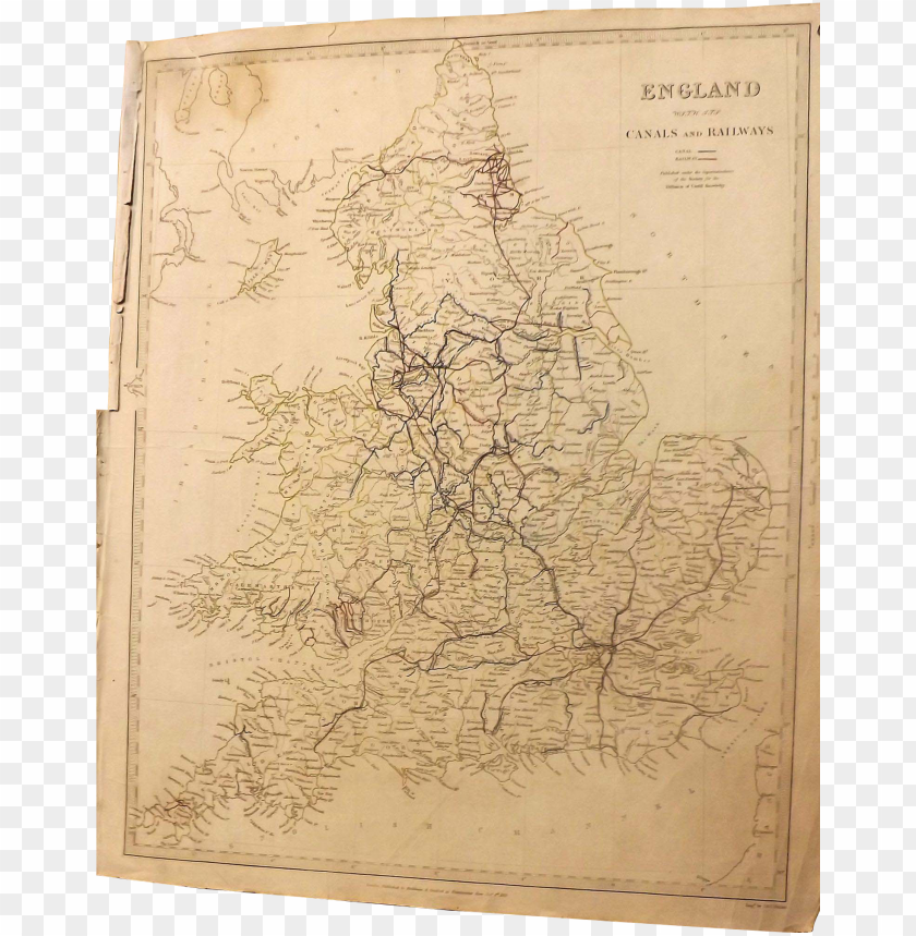 free PNG antique map of england with canals & railways marked PNG image with transparent background PNG images transparent