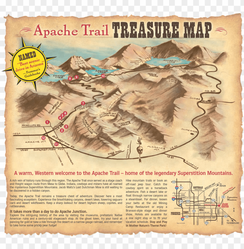 free PNG apache trail treasure map - apache trail arizona ma PNG image with transparent background PNG images transparent