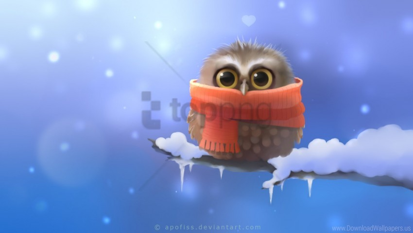free PNG apofiss, art, bird, branch, heart, owl, owlet, scarf, snow wallpaper background best stock photos PNG images transparent