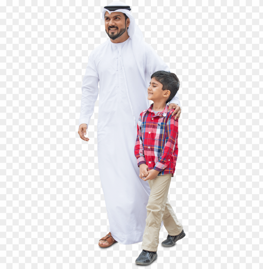 free PNG arab dad and son, walking in traditional fashion - png family walking cut out PNG image with transparent background PNG images transparent
