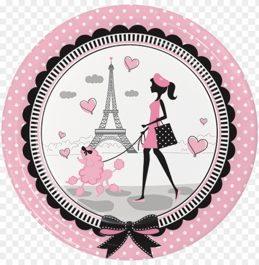 """free PNG aris party dinner plates, little girl luncheon plates, - paris party supplies 18"""" balloon (each) PNG image with transparent background PNG images transparent"""