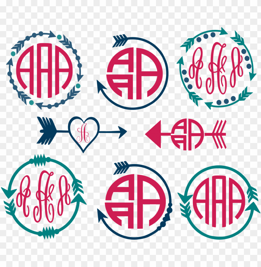 free PNG arrow circle monogram frame cut files - monogrammed shirt - arrow monogram - boho - arrow love PNG image with transparent background PNG images transparent