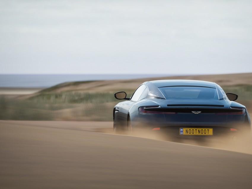 free PNG aston martin db11, aston martin, sportscar, blue, rear view, desert, sand background PNG images transparent