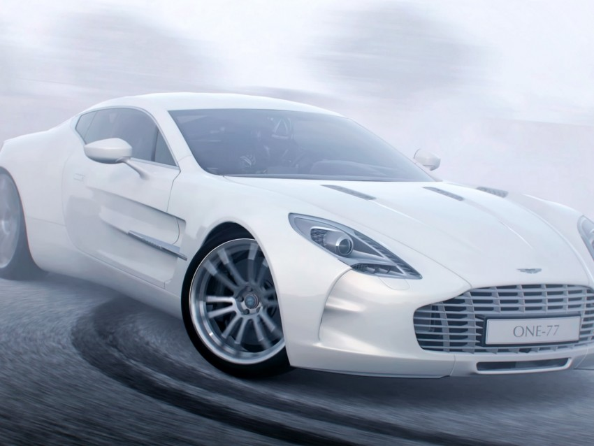 free PNG aston martin one 77, aston martin, white, sports car, drift, side view background PNG images transparent