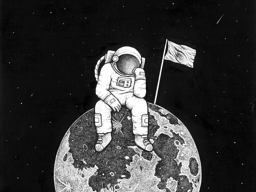 free PNG astronaut, space, art, planet, drawing, bw background PNG images transparent