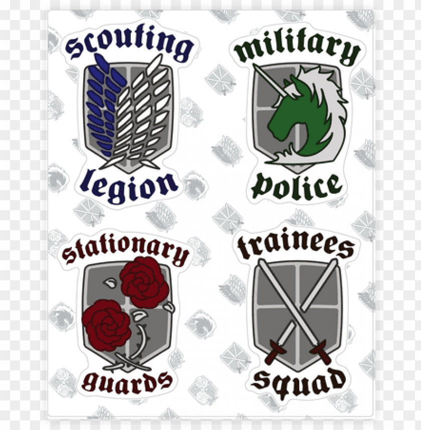 Attack On Titan Sticker Decal Sheet Attack On Titan Crests Png Image With Transparent Background Toppng