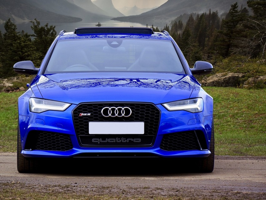 free PNG audi rs6, audi, car, blue, front view background PNG images transparent