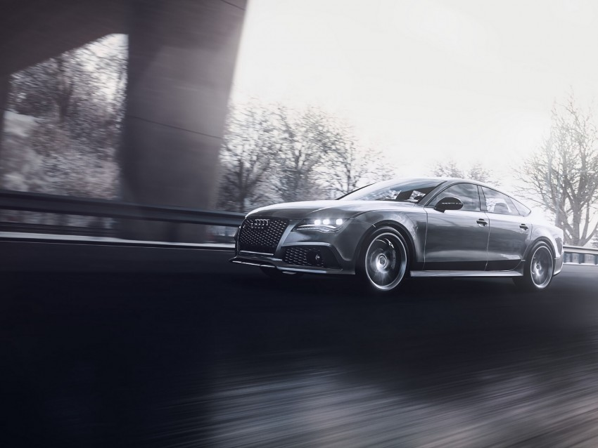 free PNG audi rs7, audi, car, gray, road, speed background PNG images transparent