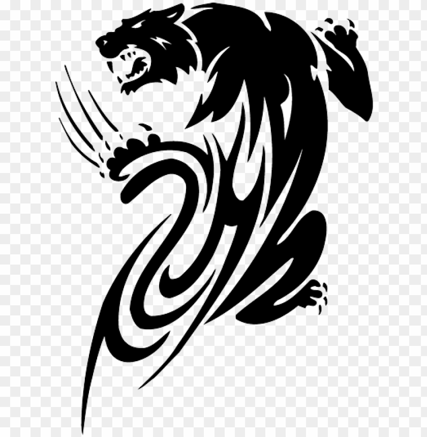 free PNG awesome black tribal panther tattoo design - tribal panther tattoo PNG image with transparent background PNG images transparent