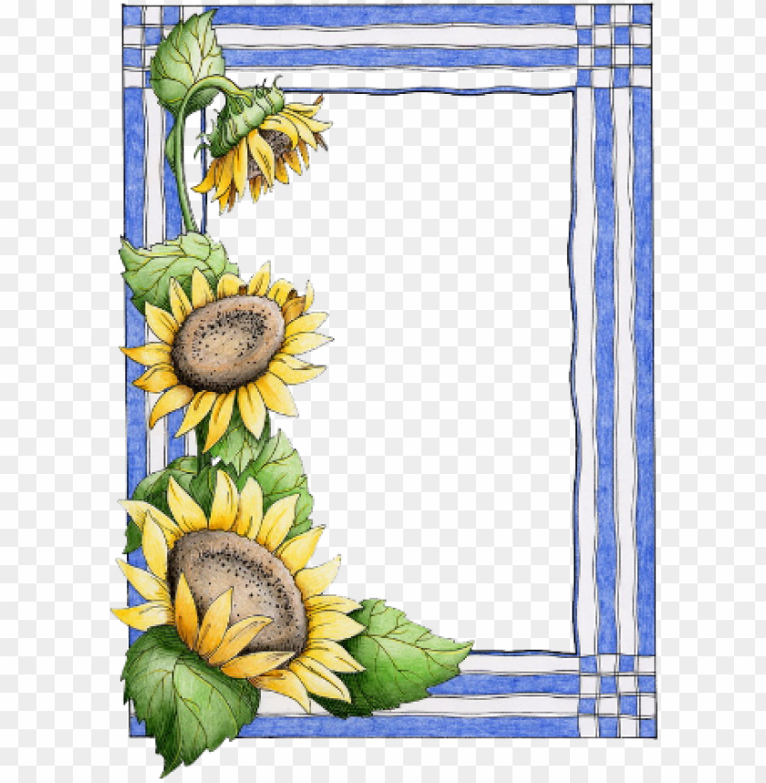 free PNG b *✿* borders for paper, borders and frames, page borders - border design sunflower PNG image with transparent background PNG images transparent