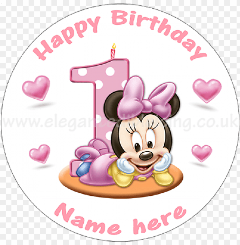 Excellent Baby Minnie Mouse 1St Birthday Cake Personalised Edible Baby Personalised Birthday Cards Veneteletsinfo