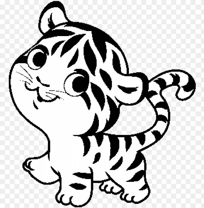 baby tiger coloring page - tiger cartoon black and white PNG ...