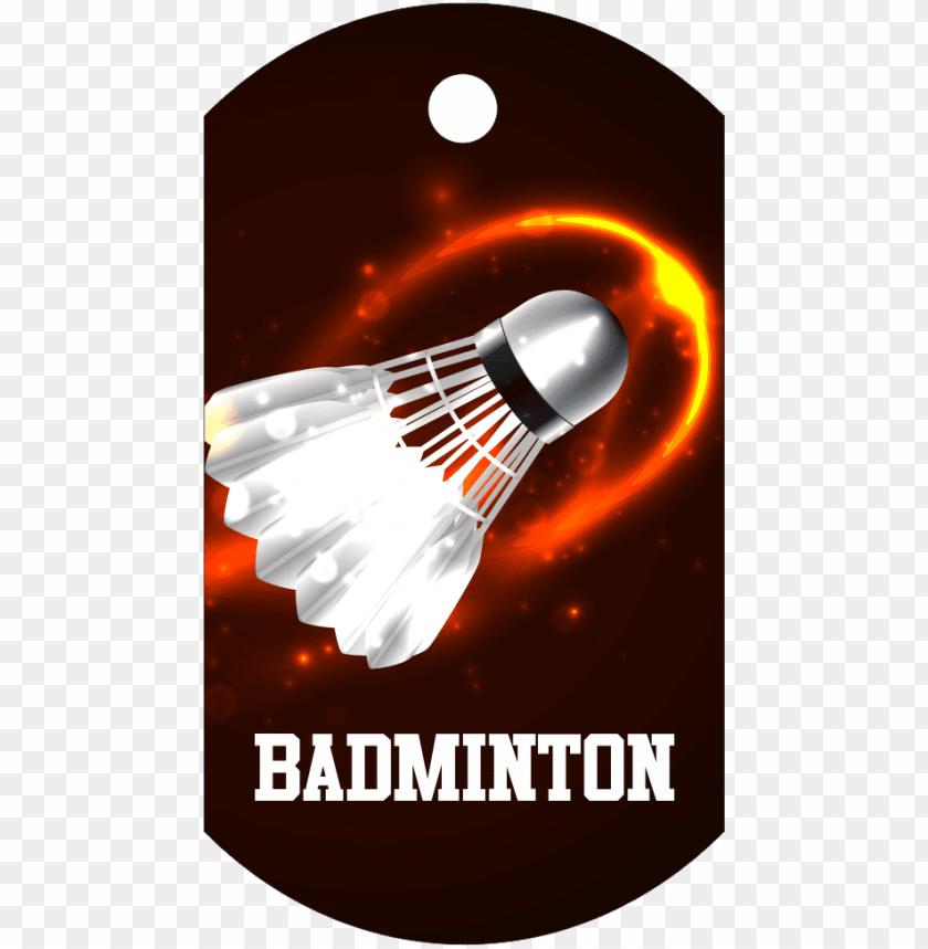 free PNG badminton dog tag full color aluminum - burning shuttlecock PNG image with transparent background PNG images transparent