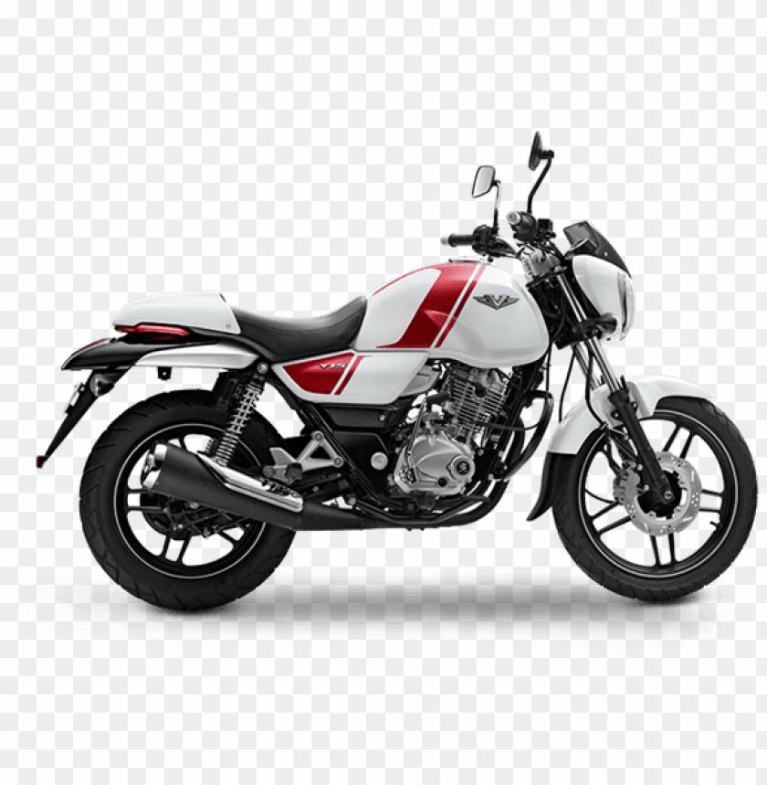 free PNG bajaj v15 ins vikrant motorcycle pearl white - bajaj v12 white colour PNG image with transparent background PNG images transparent