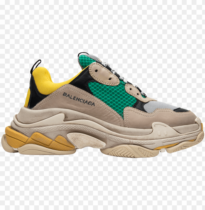 free PNG balenciaga triple s trainer 'yellow green' - balenciaga triple s yellow gree PNG image with transparent background PNG images transparent