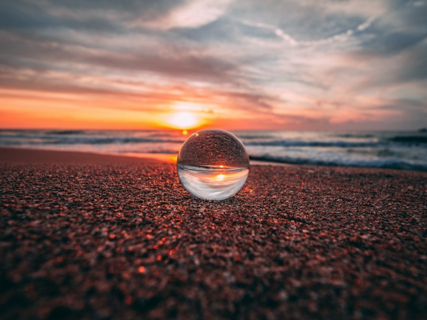 free PNG ball, glass, reflection, sea, sunset, shore background PNG images transparent