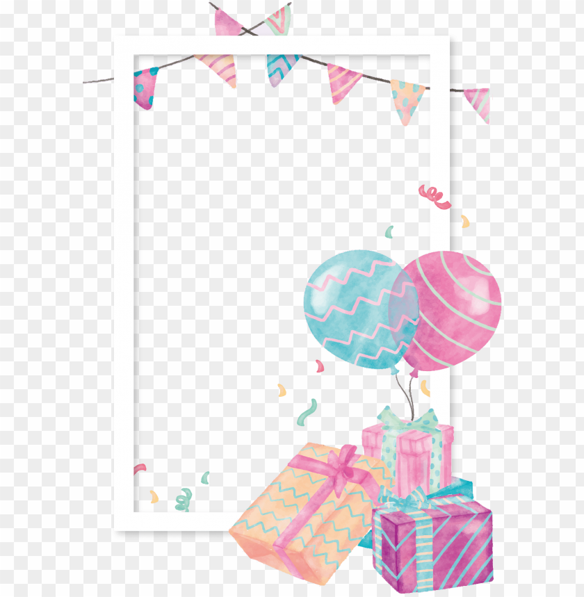 free PNG balloon gift clip art box border transprent - watercolor balloon decor PNG image with transparent background PNG images transparent