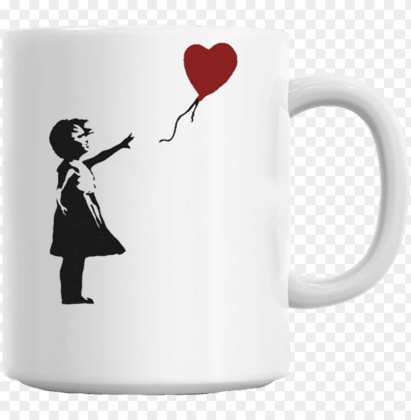 free PNG banksy balloon girl mug - banksy girl with balloon shredded PNG image with transparent background PNG images transparent