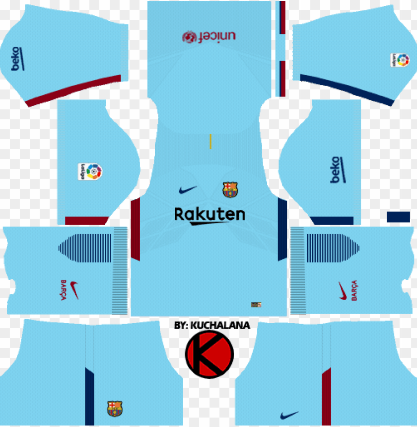 free PNG barcelona nike away kits 2017/2018 - kit barcelona dream league soccer 2018 PNG image with transparent background PNG images transparent