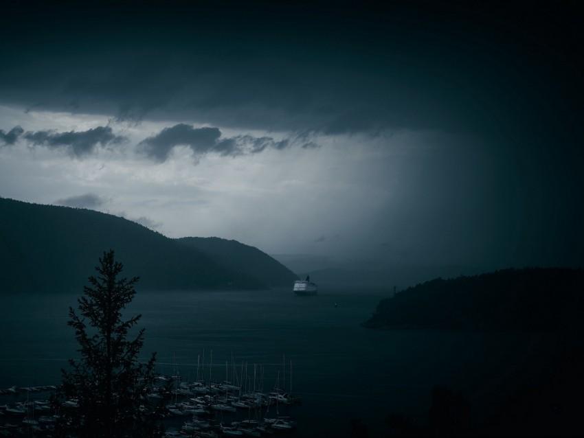 free PNG bay, ships, fog, sea, port, dark background PNG images transparent