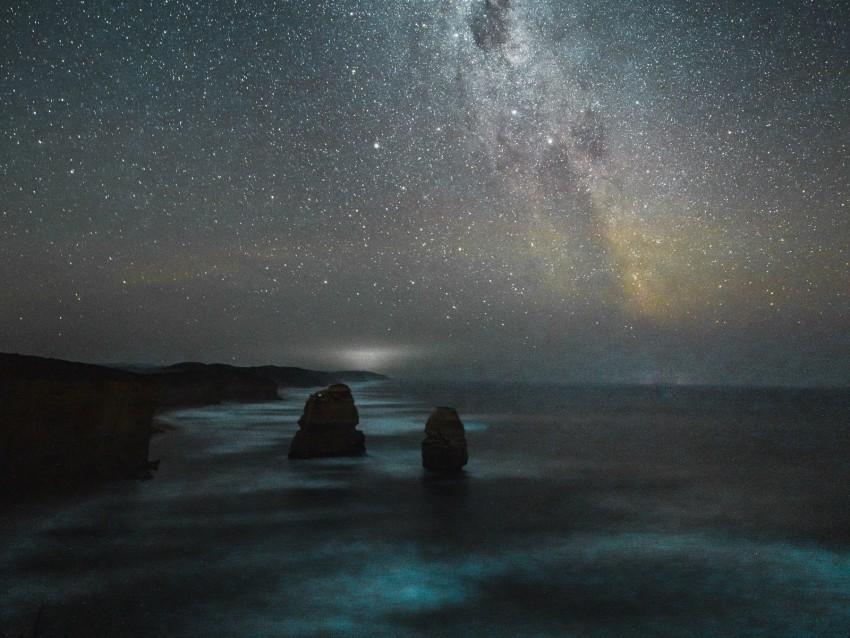 Beach Night Starry Sky Milky Way Sea Background Toppng