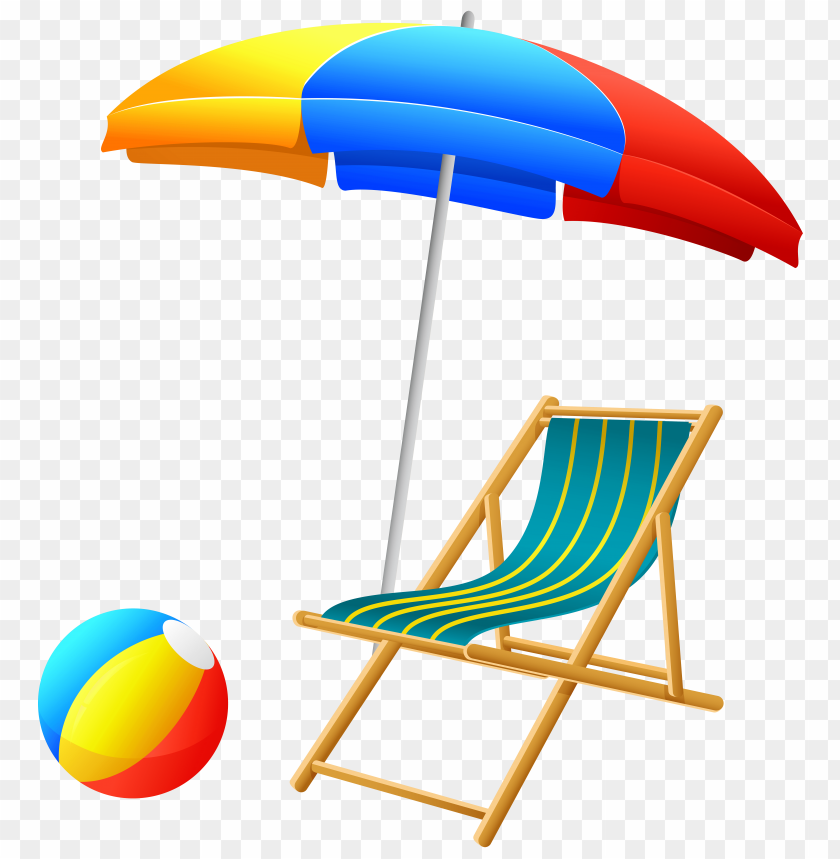 free PNG Download beach umbrella with chair and ball clipart png photo   PNG images transparent