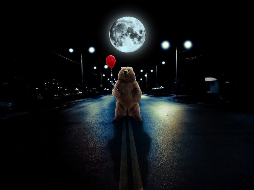 free PNG bear, balloon, full moon, road, photoshop background PNG images transparent
