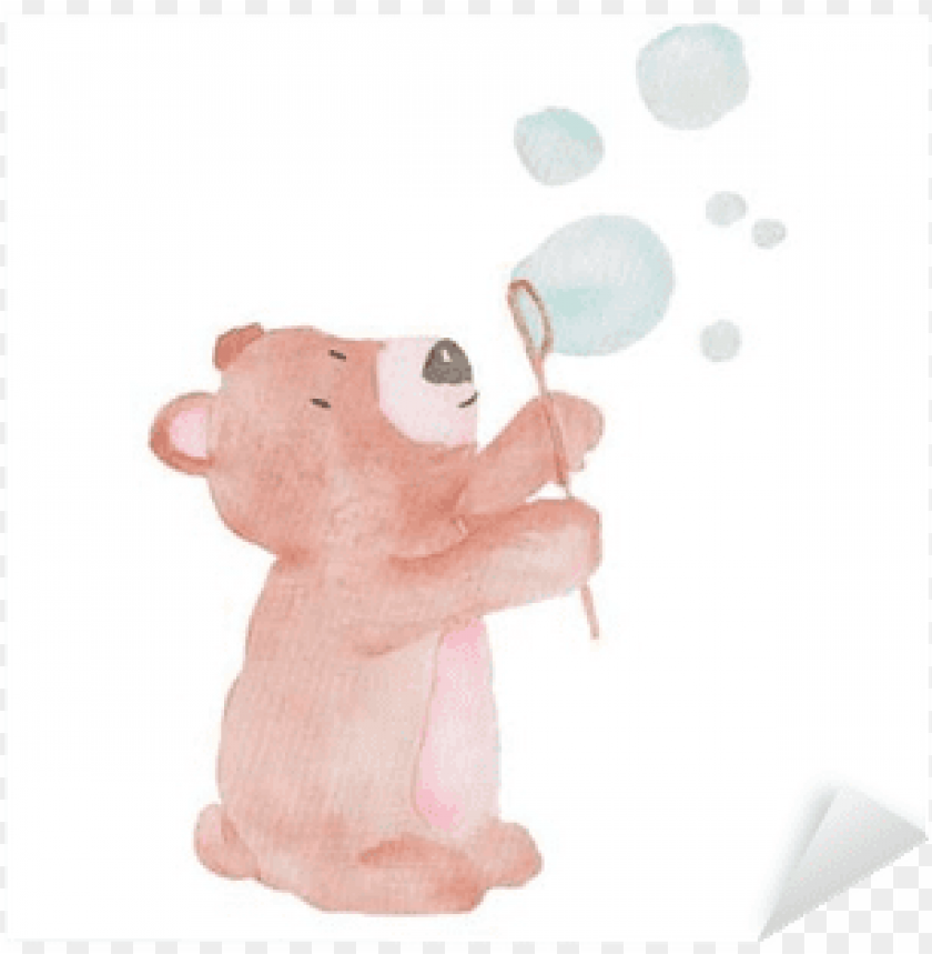 free PNG bear cute animal watercolor illustration bubbles water - illustratio PNG image with transparent background PNG images transparent