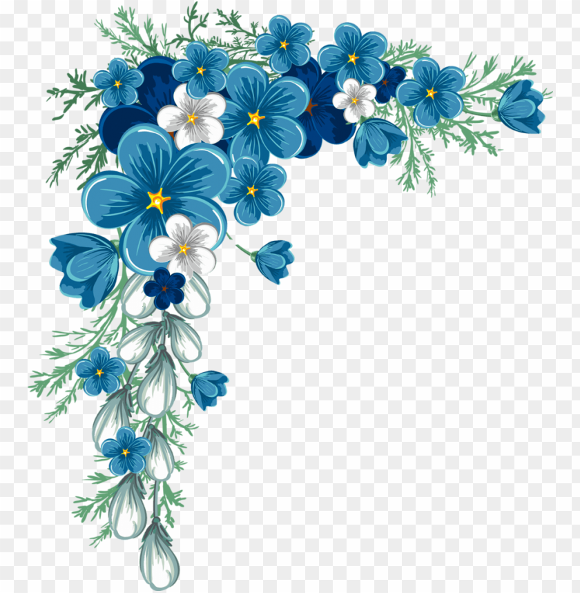 beautiful corner layout flower border , flower border - blue flower border png - Free PNG Images@toppng.com