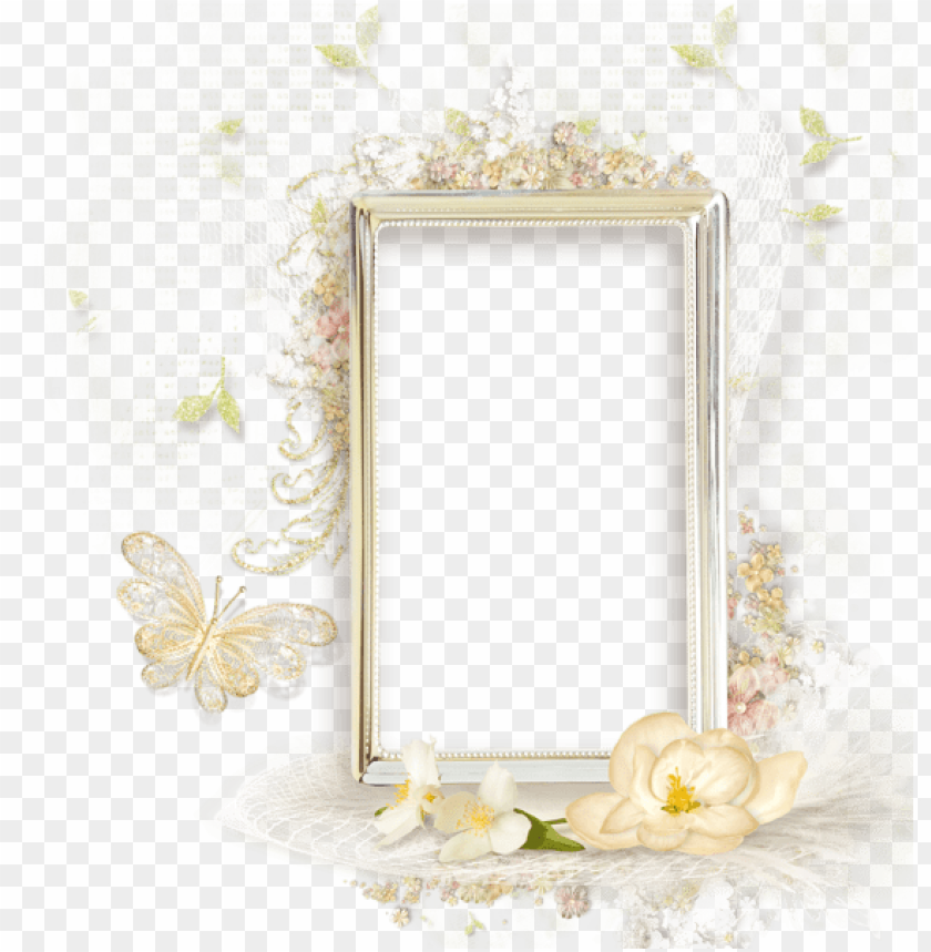 free PNG beautiful cream transparent frame with flowers - beautiful flowers photo frames PNG image with transparent background PNG images transparent