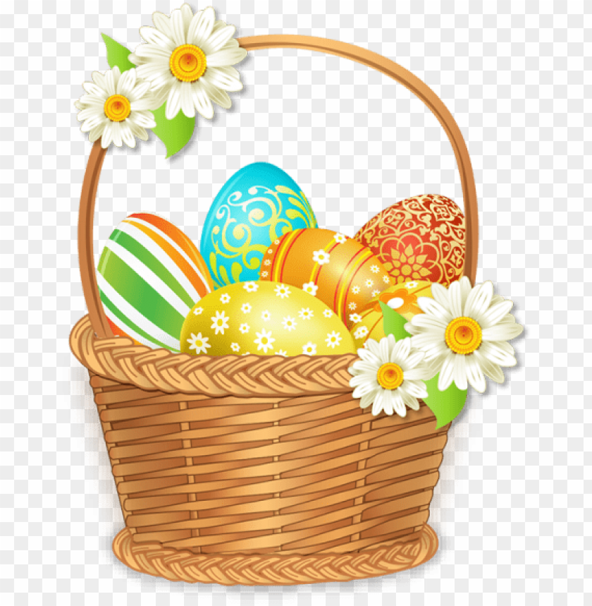 free PNG beautiful easter basket with colorful eggs, beautiful - easter basket PNG image with transparent background PNG images transparent
