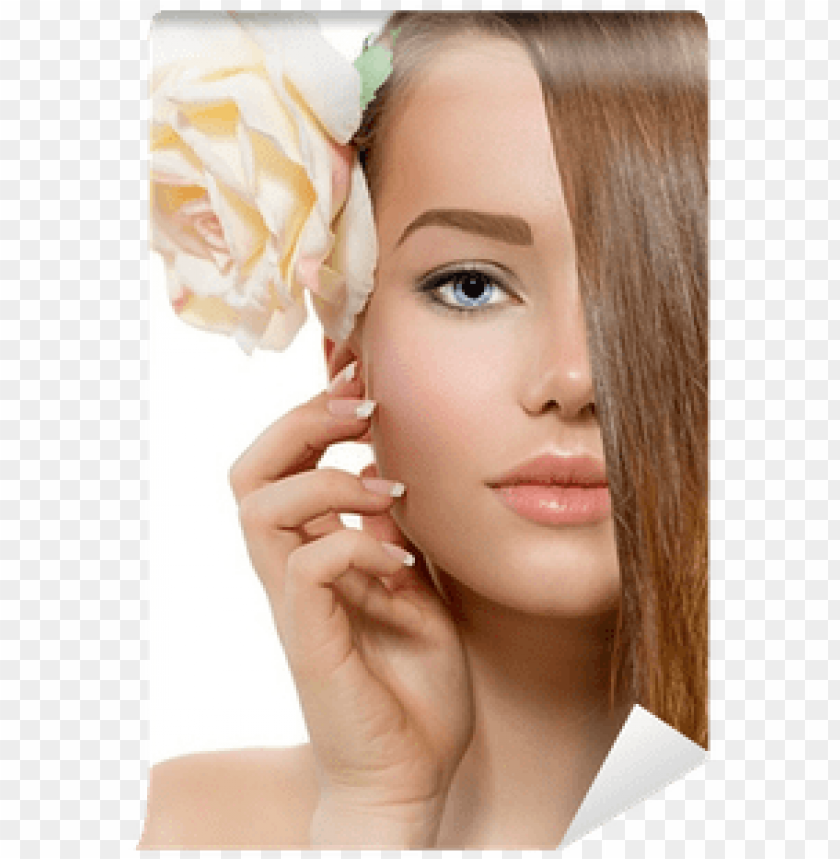 free PNG beautiful model with rose flower touching her face - face PNG image with transparent background PNG images transparent