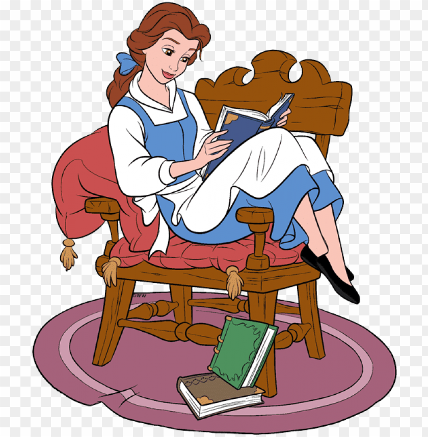 free PNG belle holding book belle reading book in chair - belle reading png transparent PNG image with transparent background PNG images transparent