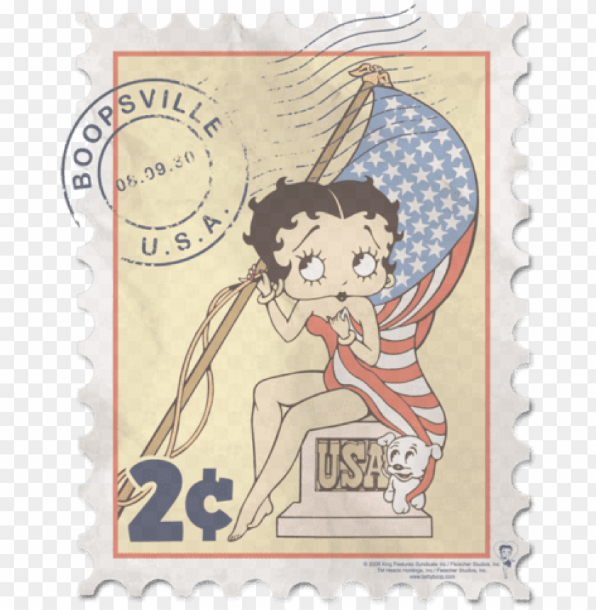 free PNG betty boop vintage stamp youth t shirt - betty boop - vintage stamp t-shirt size m PNG image with transparent background PNG images transparent
