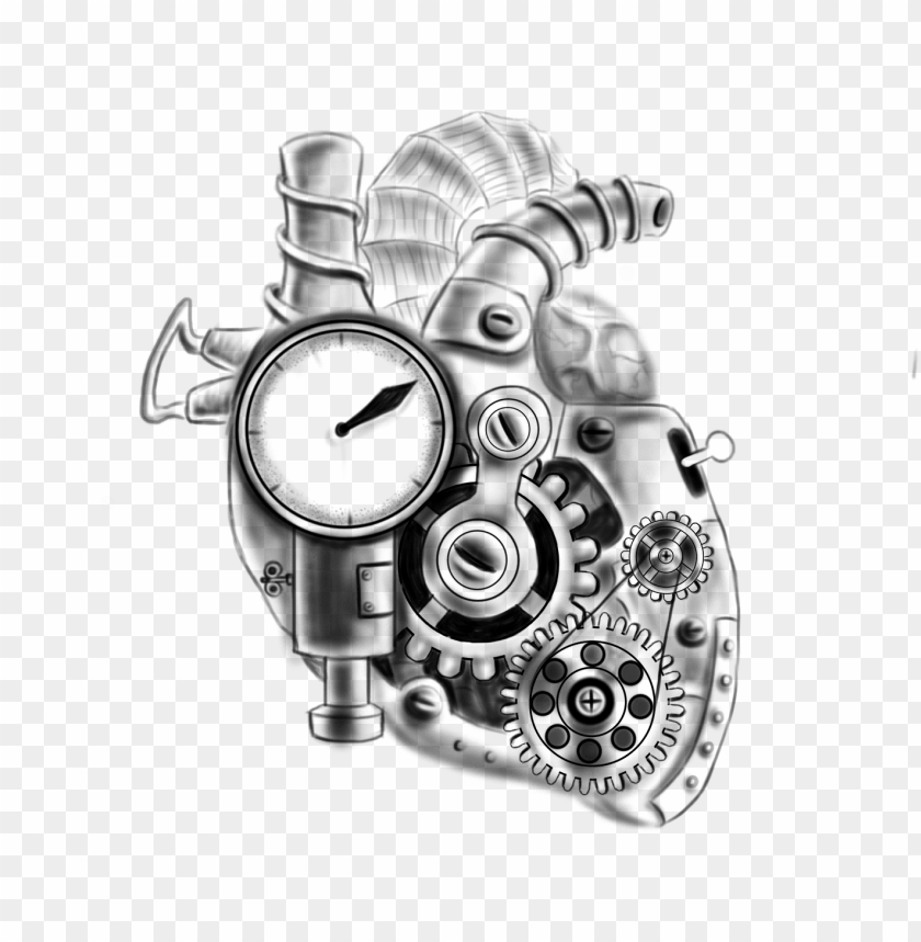 Bio Mechanical Heart Tattoo Heart Tattoos Cool Tattoos Small Biomechanical Tattoo Designs Png Image With Transparent Background Toppng