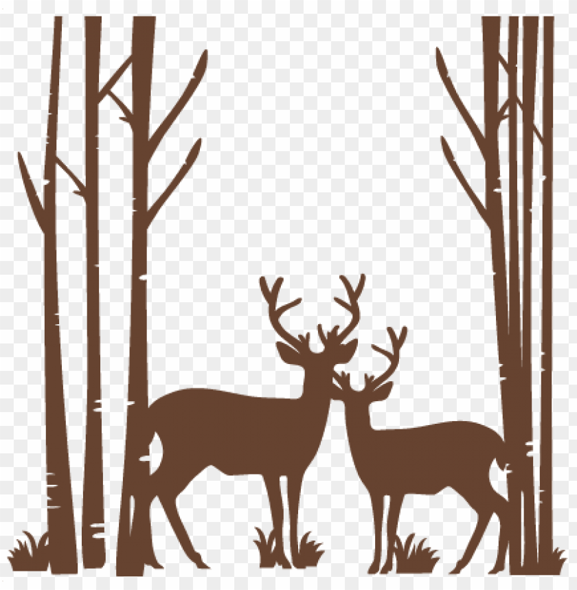 free PNG birch trees with deer svg scrapbook cut file cute clipart - birch tree free sv PNG image with transparent background PNG images transparent