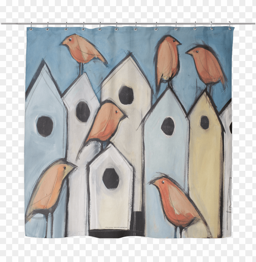 free PNG birds on houses woven oxford cloth shower curtain williams - tim nyberg - bird condos canvas PNG image with transparent background PNG images transparent
