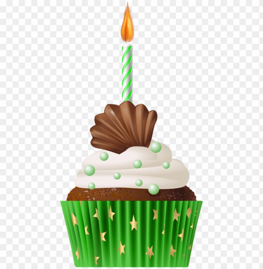 free PNG Download birthday muffin green with candle png png images background PNG images transparent