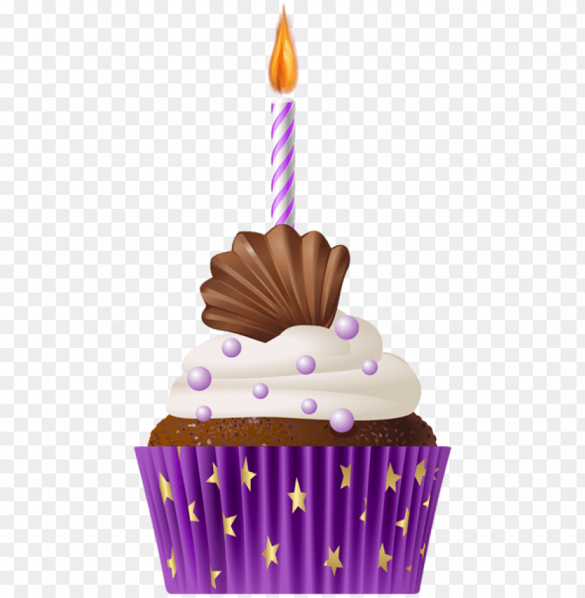 free PNG Download birthday muffin purple with candle png png images background PNG images transparent