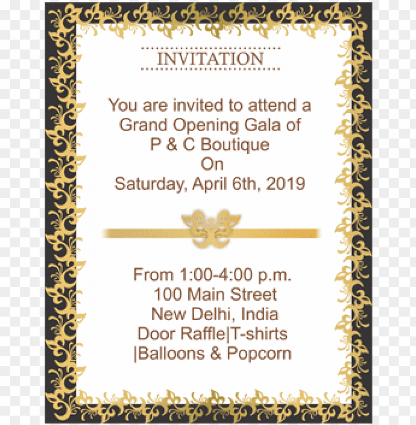 Black And Golden Border Portrait Invitation Card Wedding Invitatio Png Image With Transparent Background Toppng