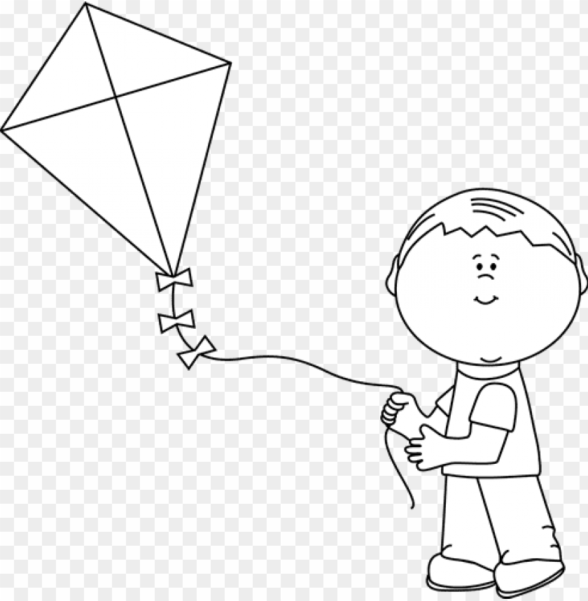 black and white boy flying a kite - boy flying a kiteblack and white PNG image with transparent background@toppng.com