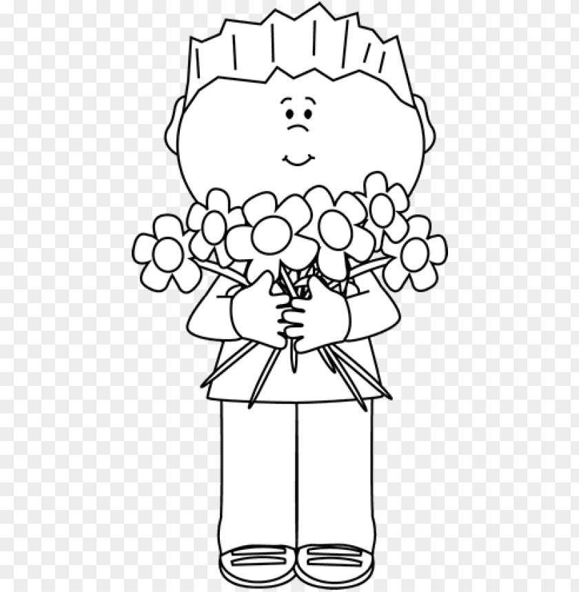 free PNG black and white boy holding a bunch of flowers - happy mother day black and white PNG image with transparent background PNG images transparent