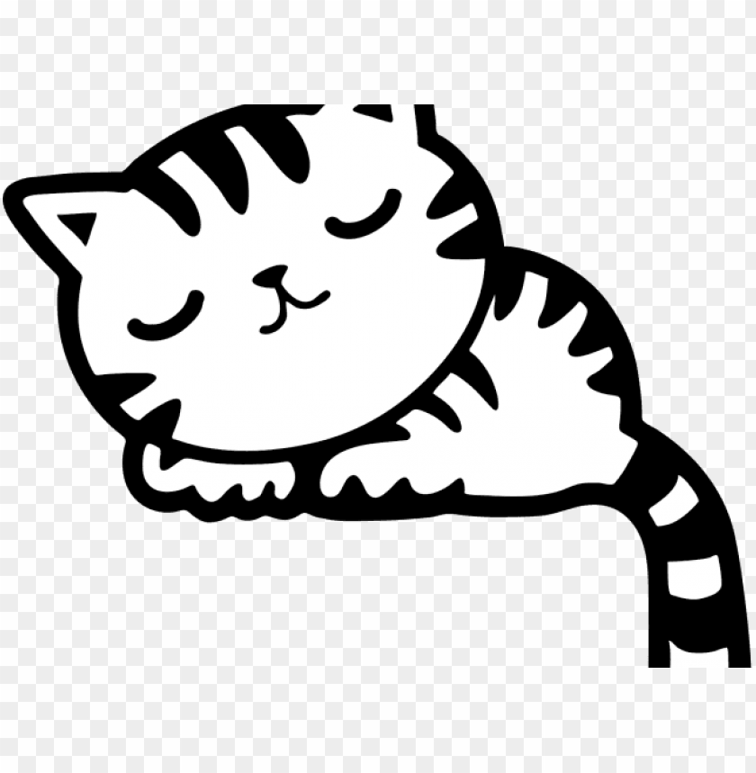 Black And White Clipart Pink Cat Kitten Kitty Png 640 Cute Sleeping Cat Cartoo Png Image With Transparent Background Toppng
