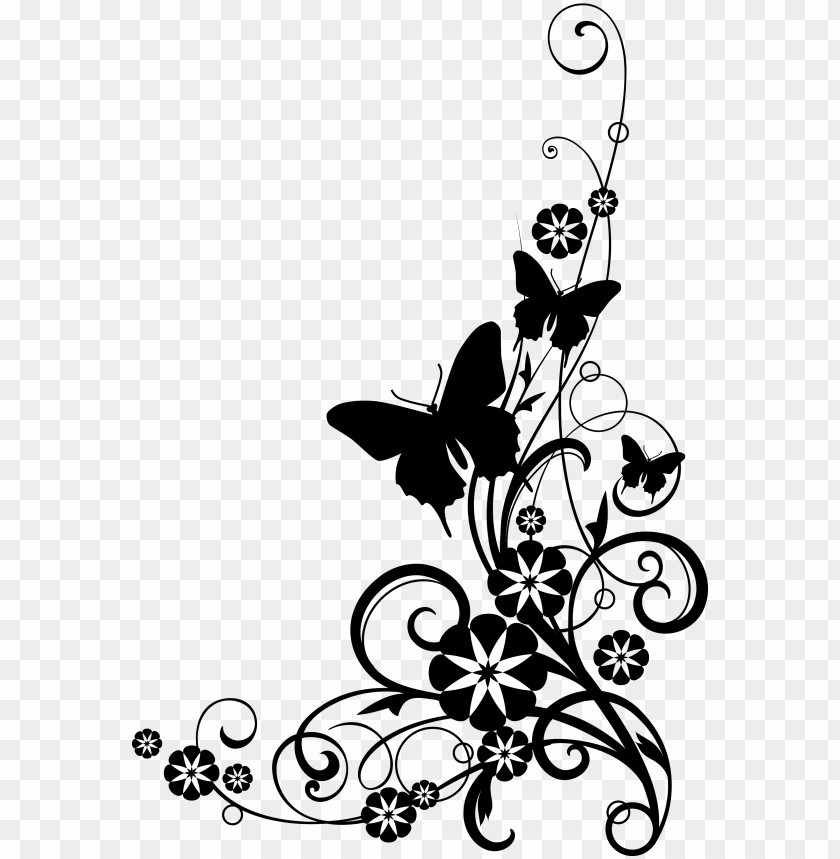 free PNG black and white flower border clipart - flowers clip art black and white border PNG image with transparent background PNG images transparent
