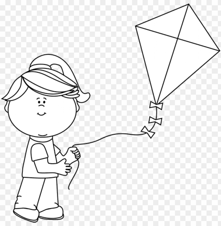 free PNG black and white girl flying a kite - flying kiteblack and white PNG image with transparent background PNG images transparent