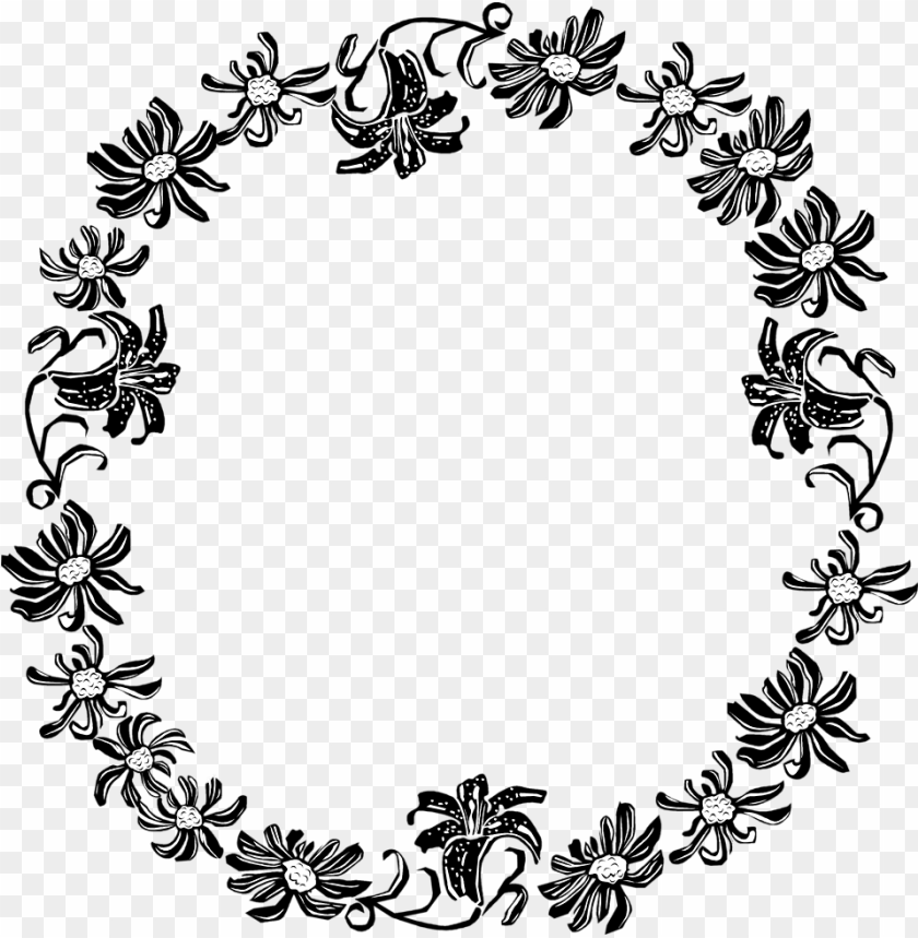 free PNG black and white stock border flowers free stock - black and white floral border PNG image with transparent background PNG images transparent