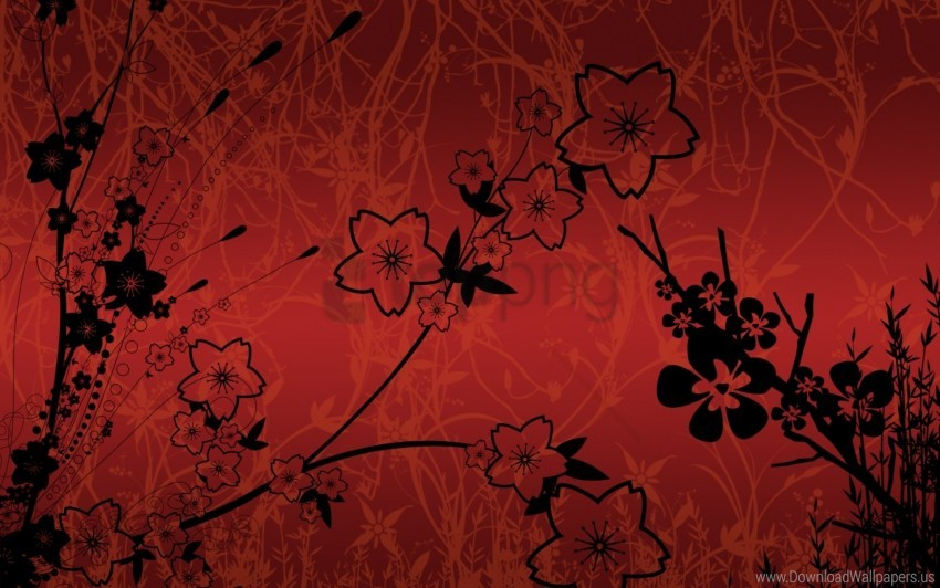 free PNG black, flowers, leaves, red, stalk wallpaper background best stock photos PNG images transparent