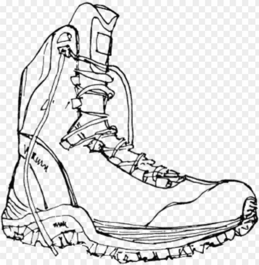 free PNG black line drawing of a hiking boot - hiking boot PNG image with transparent background PNG images transparent