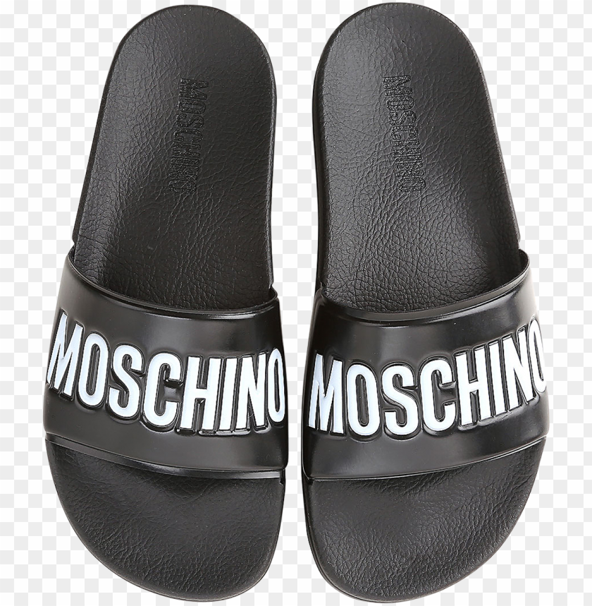 free PNG black pool slider sandals w/white logo - moschino PNG image with transparent background PNG images transparent
